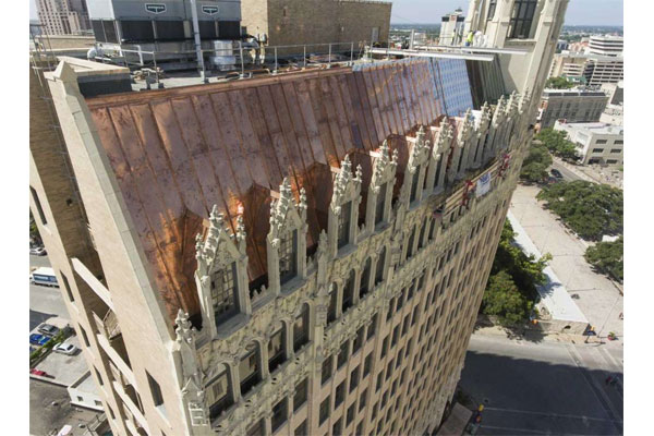 Industrial Copper Metal ReRoof On Emily Morgan Hotel